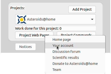 image of the simple view in BOINC showing a dropdown from clicking the project web page button and the your account option being clicked