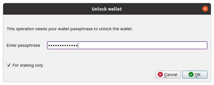 image showing the unlock menu that appears after press the unlock button. Shows 'for staking only' checked and a textbox to enter your password